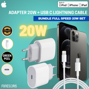 Harga set fast charger iphone 20w usb c adapter original iphone 12 mini pro   2 | HARGALOKA.COM