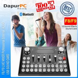 Harga f8 f9 live mixer professional external audio usb sound card   | HARGALOKA.COM