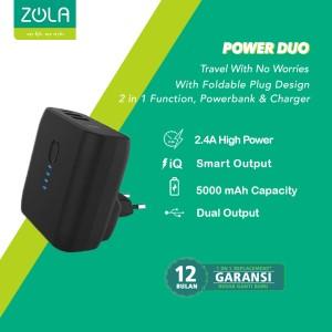 Harga zola power duo 5000mah powerbank dan charger 2 output fast charge 2 | HARGALOKA.COM