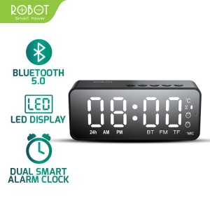Harga speaker bluetooth 5 0 mini stereo robot rb150 led alarm clock fm   | HARGALOKA.COM