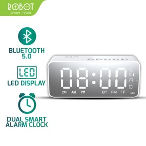 Harga speaker bluetooth 5 0 mini stereo robot rb150 led alarm clock fm   | HARGALOKA.COM