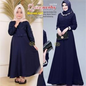 Harga busana muslim couple ibu dan anak baju gamis syari atasan brukat pesta   navy | HARGALOKA.COM