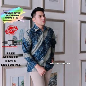 Harga kemeja batik pria baju batik pria premium modern lengan panjang te031   biru   HARGALOKA.COM