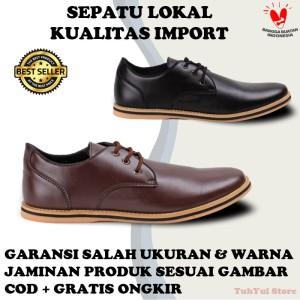 Harga sepatu casual semi kasual pria cowok murah berkualitas blucrat bezita   black | HARGALOKA.COM