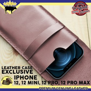 Harga casing iphone 12 12 mini 12 pro 12 pro max casing kulit asli   dark brown 12 pro | HARGALOKA.COM