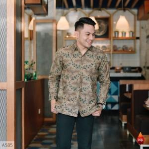 Harga baju kemeja batik pria lengan panjang pendek modern pesta kantoran g04   | HARGALOKA.COM