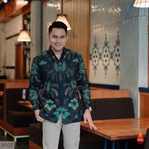 Harga baju kemeja batik pria lengan panjang pendek modern pesta kantoran g01   | HARGALOKA.COM