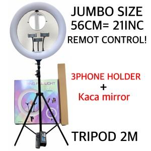 Harga ring light 56cm light stand tripod 2m 3 phone holder hq 21   HARGALOKA.COM