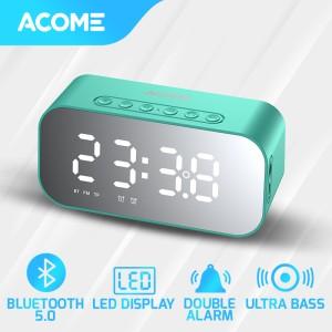 Harga acome a5 speaker bluetooth 5 0 jam alarm led display ultra bass   | HARGALOKA.COM