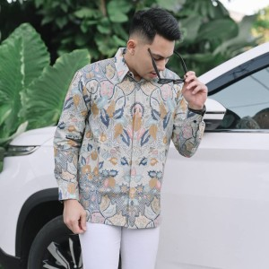 Harga baju kemeja batik pria lengan panjang pendek modern pesta kantoran g25   | HARGALOKA.COM