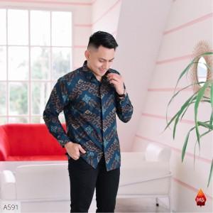 Harga baju kemeja batik pria lengan panjang pendek modern pesta kantoran g40   songket navy | HARGALOKA.COM