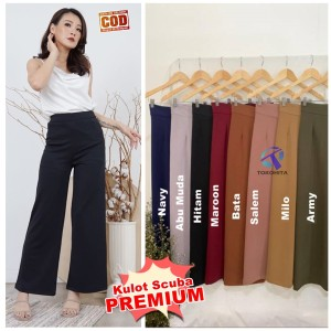 Harga premium long culottes celana kulot scuba panjang wanita   | HARGALOKA.COM