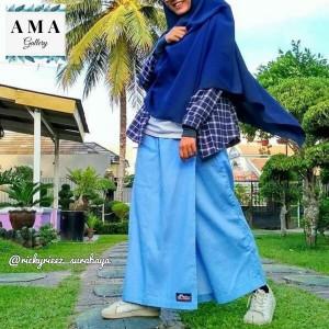 Harga kulot jeans premium rickyrieez denim biru muda bawahan hijab modern   | HARGALOKA.COM