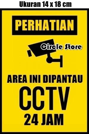 Harga stiker perhatian area ini dipantau cctv 24 jam ukuran 14 x 18 cm   | HARGALOKA.COM