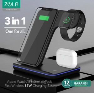 Harga zola 3 in 1 fast wireless charger 15w pad dock for airpods amp | HARGALOKA.COM
