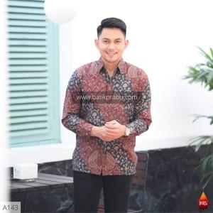 Harga baju kemeja batik pria lengan panjang pendek modern pesta kantoran g15   | HARGALOKA.COM