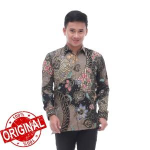 Harga kemeja batik pria lengan panjang batik sadewo batik tulis 01   abu abu | HARGALOKA.COM