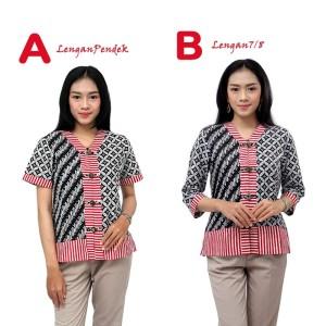 Harga blouse batik wanita model tiga kombinasi   atasan batik wanita   lengan pendek | HARGALOKA.COM