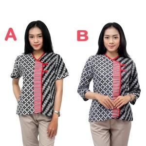 Harga atasan batik wanita model 3 in 1 shanghai style   blouse batik wanita   lengan pendek | HARGALOKA.COM