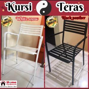 Harga kursi teras kursi cafe kursi resto outdoor holo besi kotak cat coating   white | HARGALOKA.COM