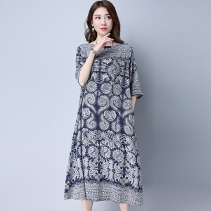 Harga tunik jumbo import lengan pendek model long dress motif batik   xxl | HARGALOKA.COM
