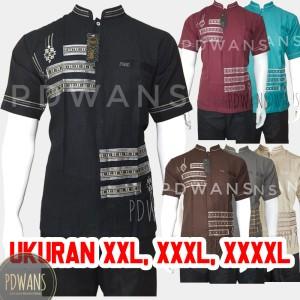 Harga baju koko muslim jumbo seri warna lengan pendek pdwans alnpdkw11jumbo   hitam | HARGALOKA.COM