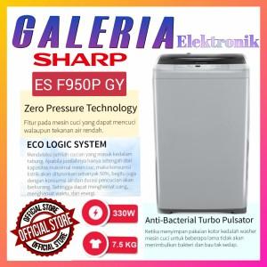 Harga mesin cuci 1 tabung sharp 7 kg esf950pgy es f950p gy top loading   HARGALOKA.COM
