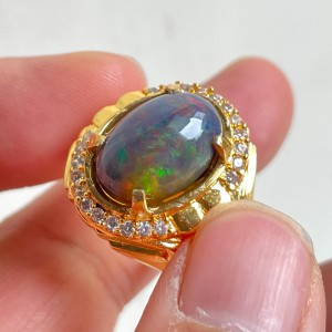 Harga cincin natural kalimaya black opal kualitas super jarong siang | HARGALOKA.COM