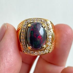 Harga cincin natural kalimaya black opal kualitas super jarong rame siang | HARGALOKA.COM