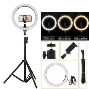 Harga satu set ring light besar 26cm dan tripod 210cm dengan phone holder   HARGALOKA.COM