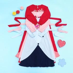 Harga baju dress tunik anak tanggung perempuan import murah dres anak cewek   merah 3 4 | HARGALOKA.COM
