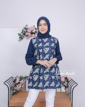 Harga baju batik wanita audry batik blouse camellia navy murah cantik modern   | HARGALOKA.COM