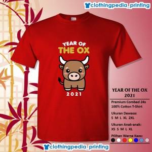 Harga kaos baju keluarga couple imlek year of the ox 2021 cny sincia imut   merah | HARGALOKA.COM