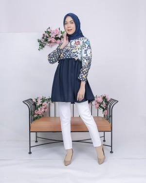 Harga baju batik wanita audry batik blouse silvy navy murah cantik modern   | HARGALOKA.COM