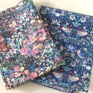 Harga kain katun 100 twill import motif bunga vintage burung   | HARGALOKA.COM