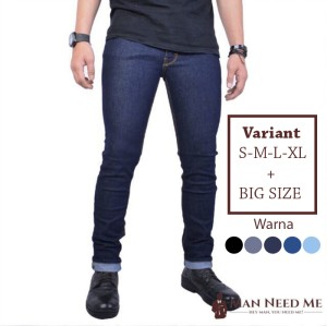 Harga celana jeans pria slim fit denim stretch   navy   navy | HARGALOKA.COM