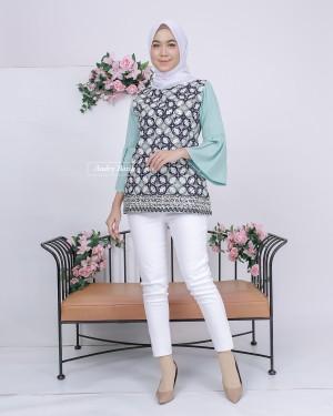 Harga baju batik wanita audry batik blouse naya tosca murah cantik modern   | HARGALOKA.COM