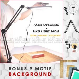 Harga paket overhead bracket hp led ring light 26cm background | HARGALOKA.COM