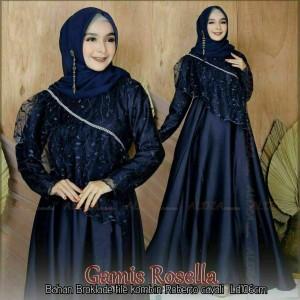 Harga baju gamis brokat pesta wanita atasan cewek dress muslimah modern abu   | HARGALOKA.COM