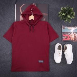 Harga kaos hoodie kupluk polos lengan pendek premium   merah | HARGALOKA.COM