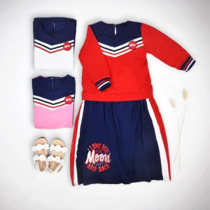 Harga baju dress anak perempuan tanggung import tunik anak cewek murah   e   merah 3 4 | HARGALOKA.COM