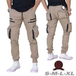 Harga fashion celana jogger cargo pria kekinian model terbaru jogger pria   cream   HARGALOKA.COM