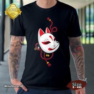 Harga kaos kitsune mask japan   kaos premium size s   4xl   putih | HARGALOKA.COM