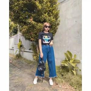 Harga celana kulot jeans panjang wanita model masakini   bio stone | HARGALOKA.COM