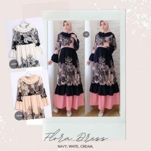 Harga flora dress baju muslim gamis motif bunga cantik murah realpict   | HARGALOKA.COM