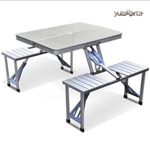 Harga set meja kursi piknik lipat foldable portable aluminium model   HARGALOKA.COM