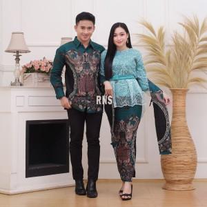 Harga baju couple kebaya brukat modern batik sarimbit kemeja pria pesta   toska | HARGALOKA.COM
