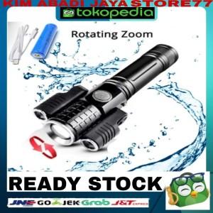 Harga senter led rotating zoom cree t6 2x xpe 15000 lm | HARGALOKA.COM