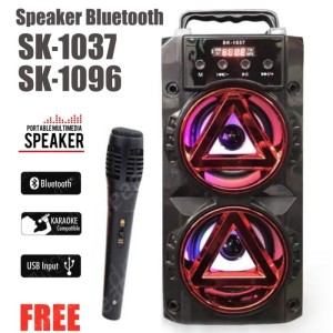 Harga speaker karaoke bluetooth sk 1037 sk 1096 bonus mic   HARGALOKA.COM