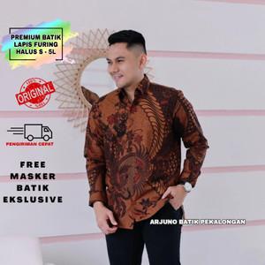 Harga baju kemeja batik pria lengan panjang modern lapis furing halus 005   cokelat   HARGALOKA.COM